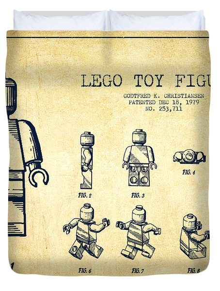 Lego Toy Figure Patent Drawing From 1979 - Vintage Duvet Cover by Aged Pixel
