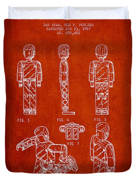 Lego Toy Figure Patent - Red Duvet Cover by Aged Pixel
