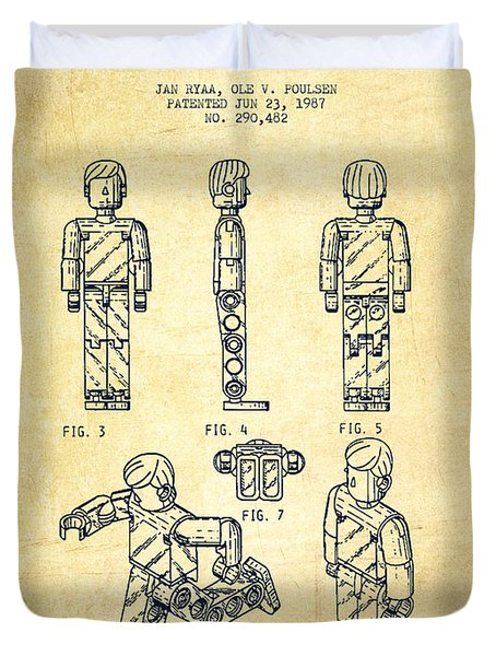 Lego Toy Figure Patent - Vintage Duvet Cover by Aged Pixel