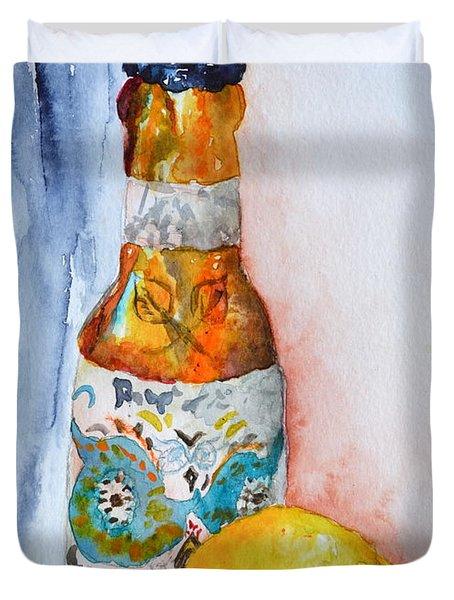 Lemon And Pilsner Duvet Cover by Beverley Harper Tinsley
