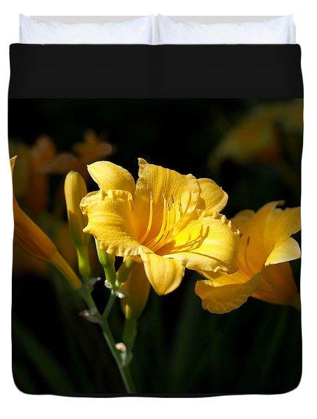 Lemon Yellow Daylilies Duvet Cover by Rona Black