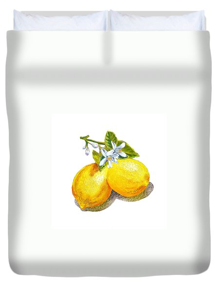 Lemons And Blossoms Duvet Cover by Irina Sztukowski