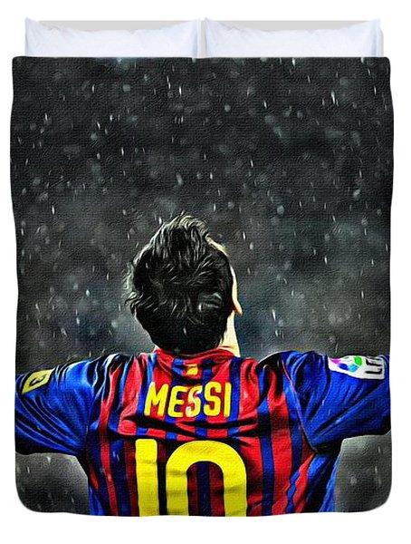Leo Messi Poster Art Duvet Cover by Florian Rodarte