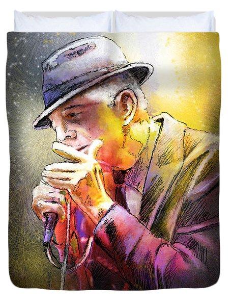 Leonard Cohen 02 Duvet Cover by Miki De Goodaboom