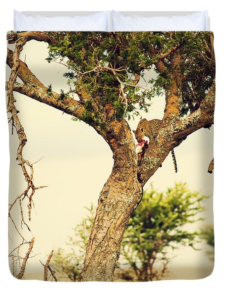 Leopard Eating His Victim On A Tree In Tanzania Duvet Cover by Michal Bednarek