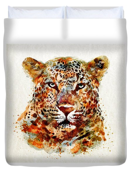 Leopard Head Watercolor Duvet Cover by Marian Voicu