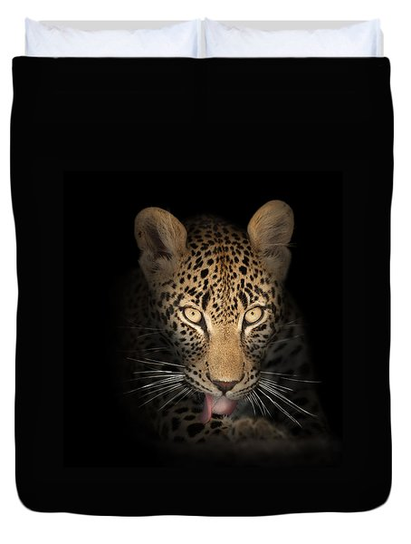 Leopard In The Dark Duvet Cover by Johan Swanepoel