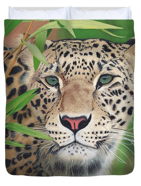 Leopard In The Woods Duvet Cover by Alina Kaplanov