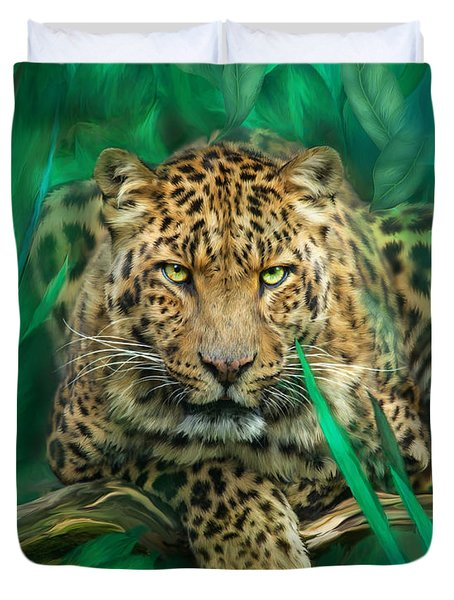 Leopard - Spirit Of Empowerment Duvet Cover by Carol Cavalaris