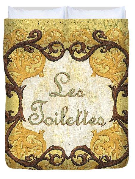 Les Toilettes Duvet Cover by Debbie DeWitt