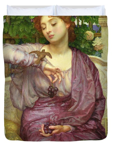 Lesbia And Her Sparrow Duvet Cover by Sir Edward John Poynter
