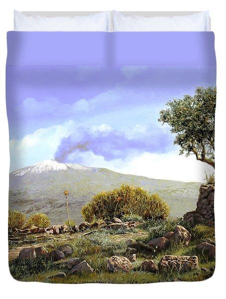 l'Etna  Duvet Cover by Guido Borelli