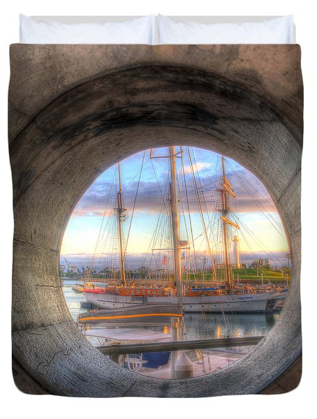 Let's Pretend It's A Porthole Duvet Cover by Heidi Smith