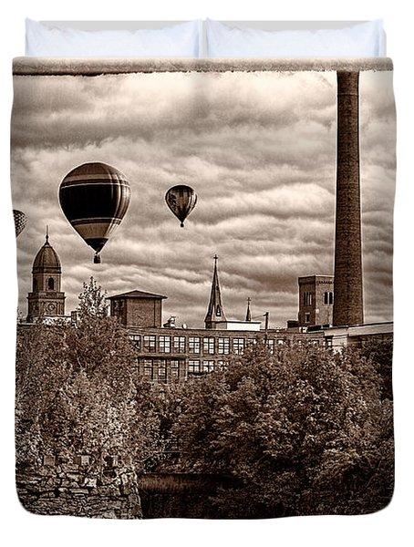 Lewiston Maine Hot Air Balloons Duvet Cover by Bob Orsillo