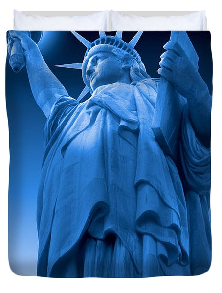 Liberty Shines On In Blue Duvet Cover by Mike McGlothlen