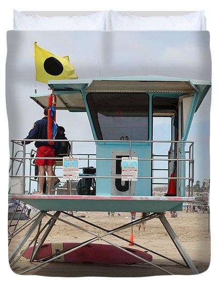 Lifeguard Shack At The Santa Cruz Beach Boardwalk California 5D23711 Duvet Cover by Wingsdomain Art and Photography