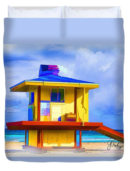 Lifeguard Station Duvet Cover by Gerry Robins