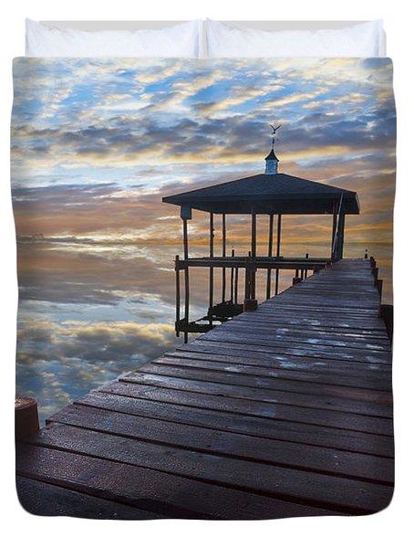 Light At The Lake Duvet Cover by Debra and Dave Vanderlaan