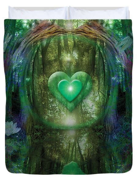 Light In The Forest Duvet Cover by Alixandra Mullins