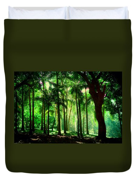 Light In The Jungles. Viridian Greens. Mauritius Duvet Cover by Jenny Rainbow