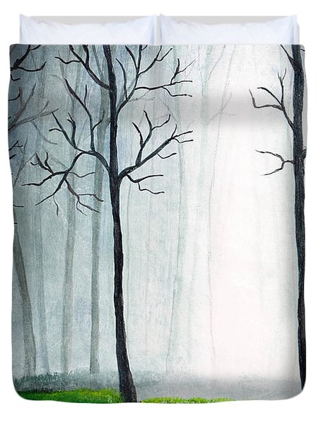 Light Through The Forest Duvet Cover by Nirdesha Munasinghe