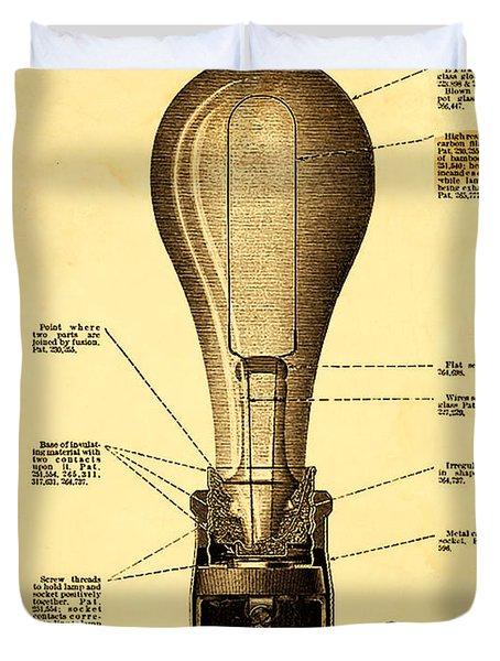 Lightbulb Patent Duvet Cover by Digital Reproductions