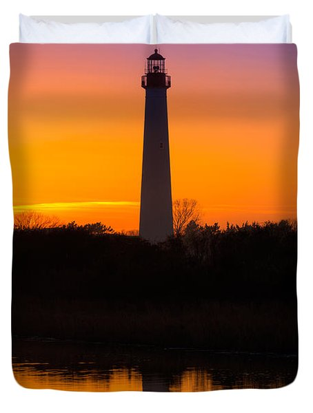 Lighthouse Silhouette Duvet Cover by Michael Ver Sprill
