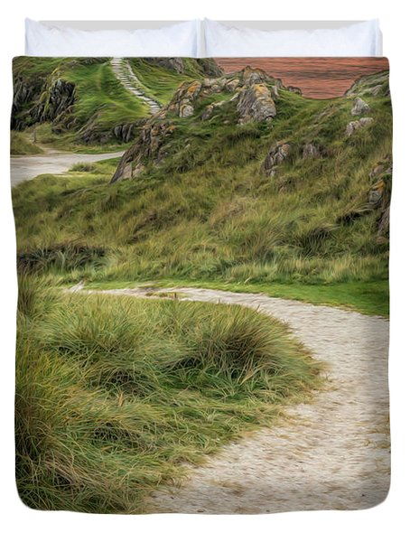 Lighthouse Trail Duvet Cover by Adrian Evans