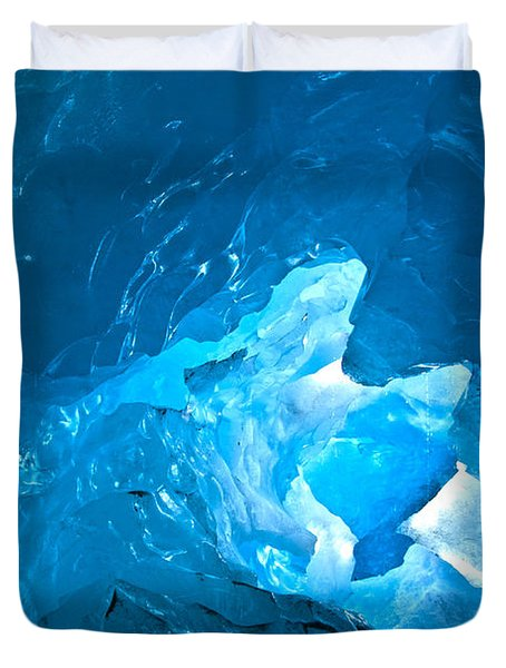 Lighting In Nigardsbreen Glacier Grotto 3 Duvet Cover by Heiko Koehrer-Wagner