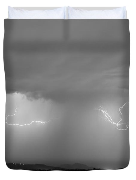 Lightning And Rain Over Rocky Mountain Foothills Bw Duvet Cover by James BO  Insogna