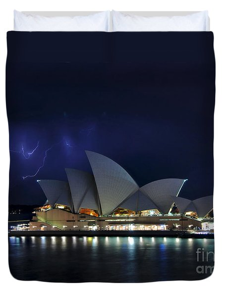 Lightning behind The Opera House Duvet Cover by Kaye Menner