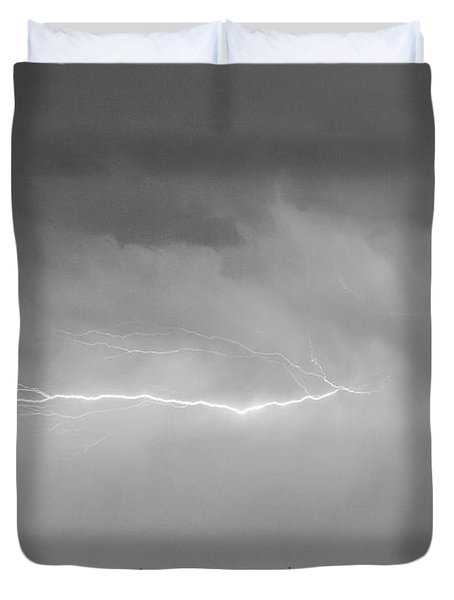 Lightning Bolting Across the Sky BWSC Duvet Cover by James BO  Insogna