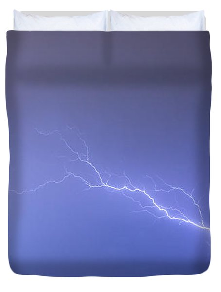 Lightning Bolts Coming In For A Landing Panorama Duvet Cover by James BO  Insogna