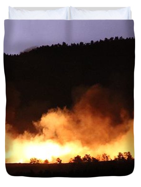 Duvet Cover featuring the photograph Lightning During Wildfire by Bill Gabbert