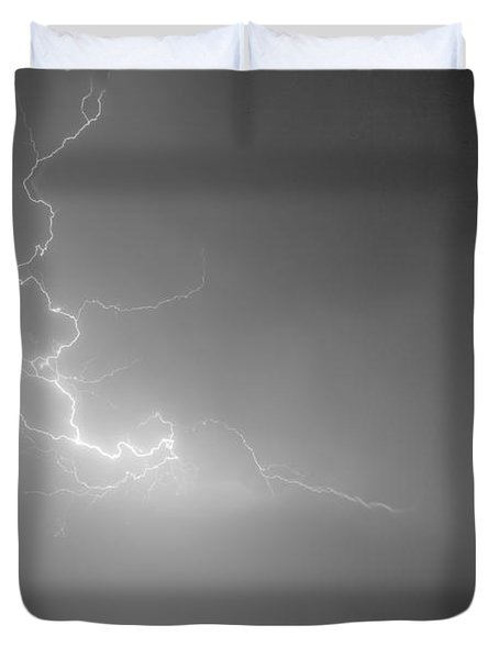Lightning Goes Boom In The Middle of The Night BW Duvet Cover by James BO  Insogna