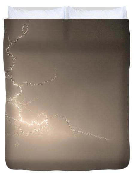 Lightning Goes Boom In The Middle Of The Night Sepia Duvet Cover by James BO  Insogna