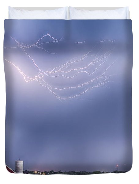 Lightning Storm And The Big Red Barn Duvet Cover by James BO  Insogna