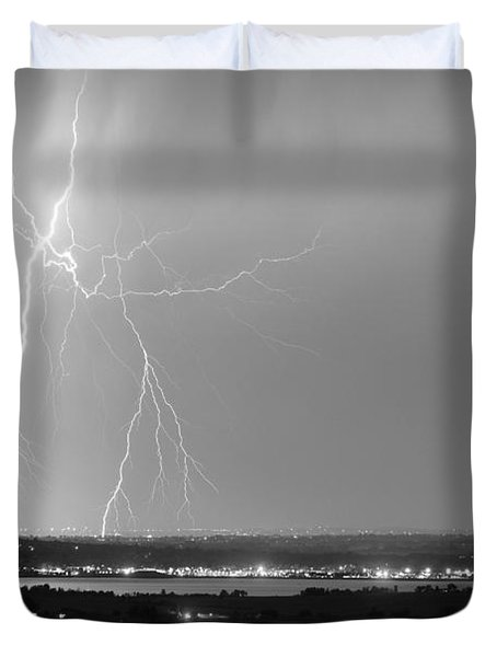 Lightning Strike Boulder Reservoir And Coot Lake Bw Duvet Cover by James BO  Insogna