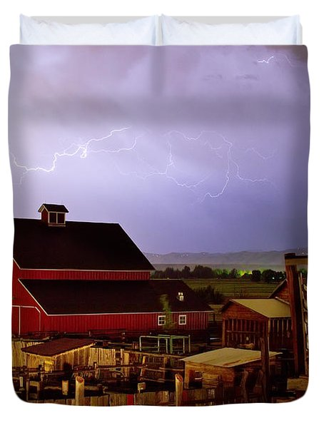 Lightning Strikes Over The Farm Duvet Cover by James BO  Insogna