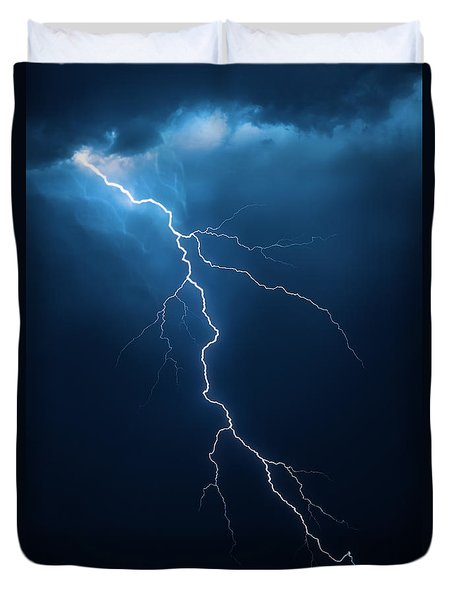 Lightning with cloudscape Duvet Cover by Johan Swanepoel