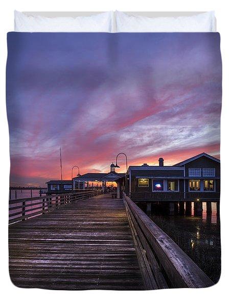 Lights On The Dock Duvet Cover by Debra and Dave Vanderlaan