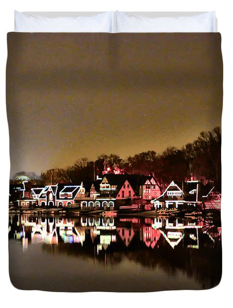 Lights On The Schuylkill River Duvet Cover by Bill Cannon