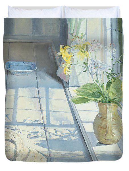 Lilies And A Straw Hat Duvet Cover by Timothy Easton
