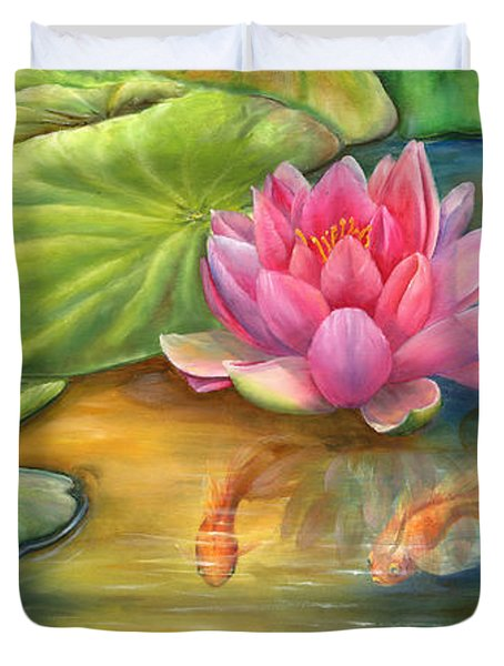 Lilly Pond Duvet Cover by Kathy Brecheisen