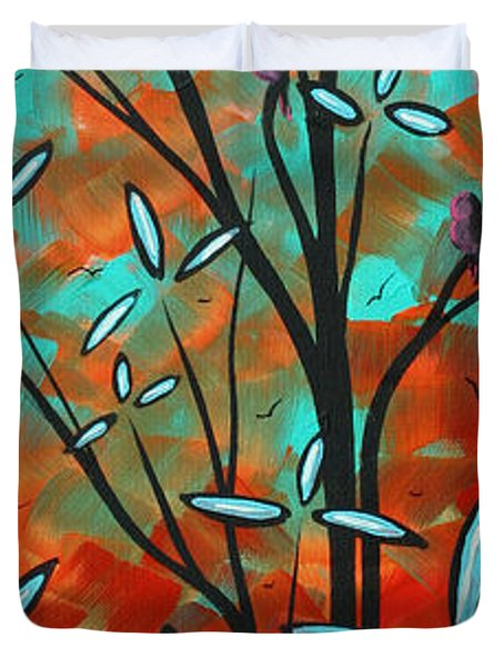 Lilly Pulitzer Inspired Abstract Art Colorful Original Painting Spring Blossoms By Madart Duvet Cover by Megan Duncanson