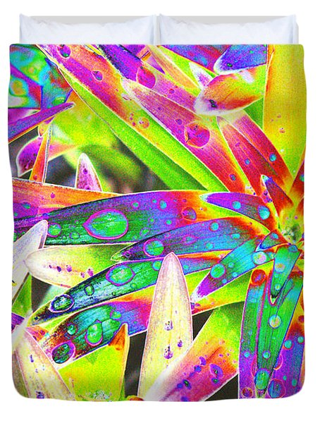 Lily Leaves Raindrops Duvet Cover by Carol Lynch