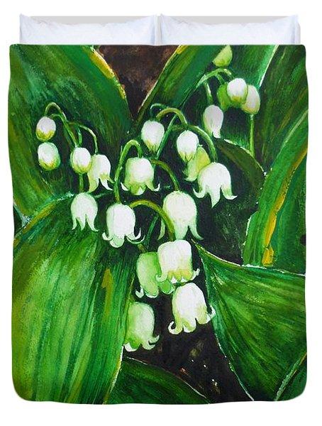Lily Of The Valley Duvet Cover by Zaira Dzhaubaeva