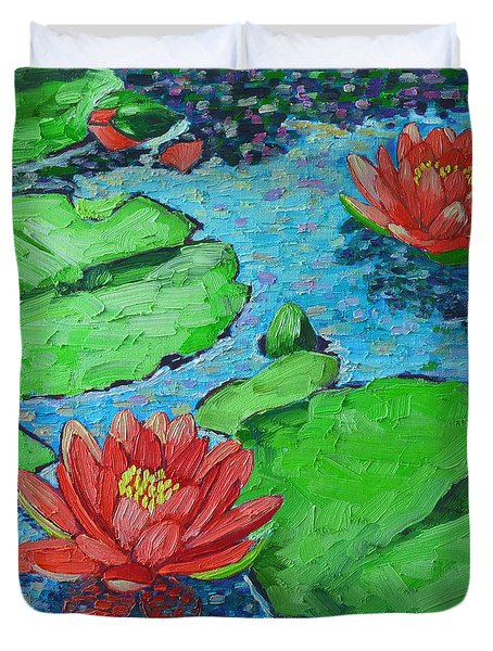 Lily Pond Impression Duvet Cover by Ana Maria Edulescu