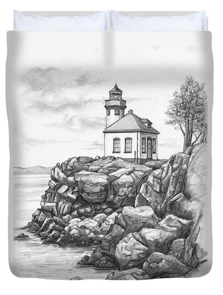 Lime Kiln Lighthouse Duvet Cover by Kim Lockman