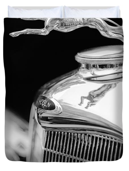 Lincoln Hood Ornament - Grille Emblem -1187bw Duvet Cover by Jill Reger